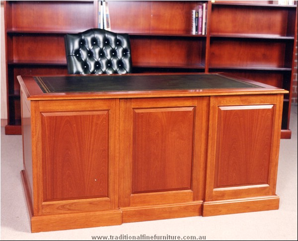 5 x 3 Panel Carved Desk with Leather Top